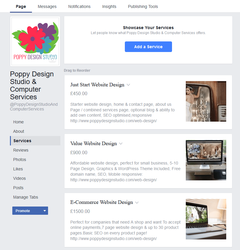 Services Section To Facebook Page