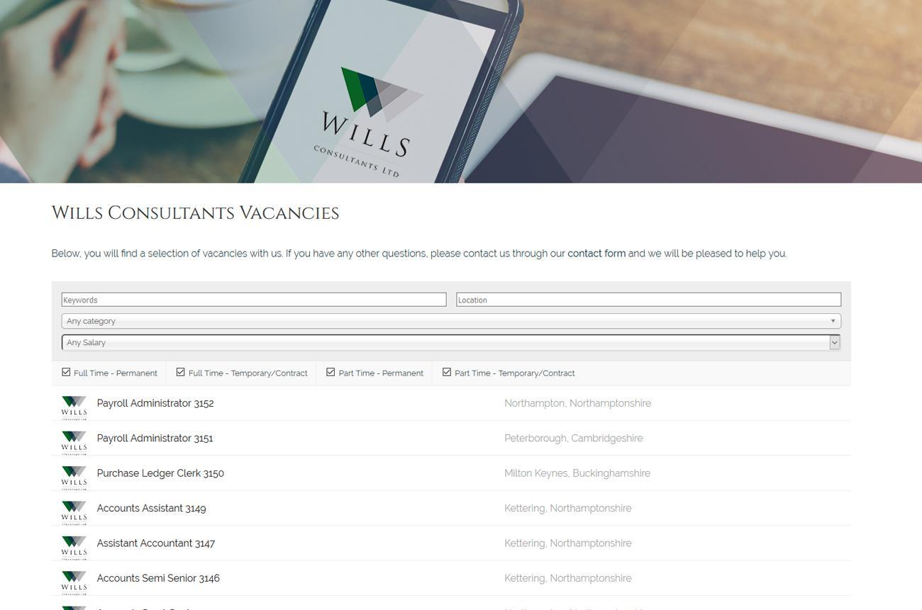 Recruitment Website Design Wills Consultants