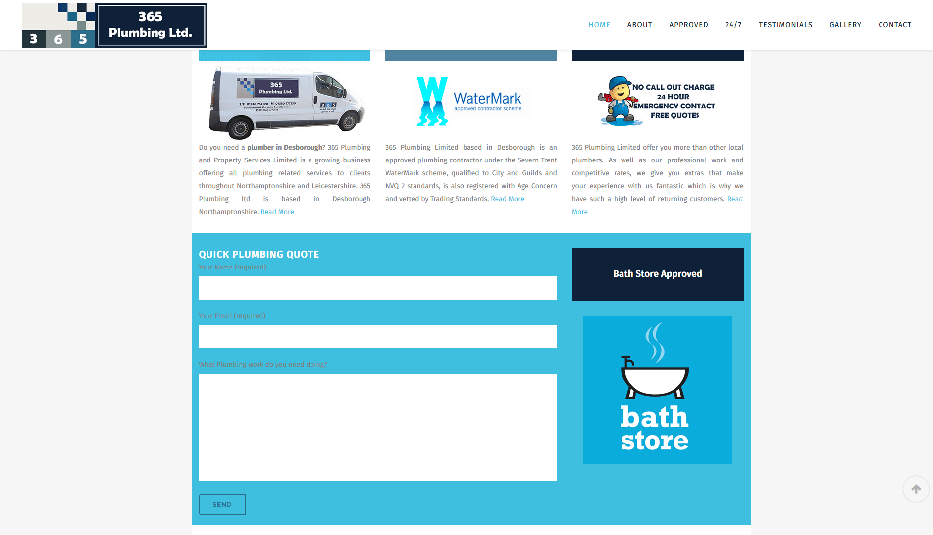 Business Branding and Website 365 Plumbing LTD