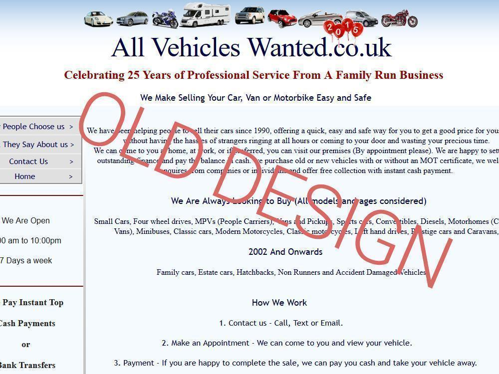 Rothwell Website Design All Vehicles Wanted