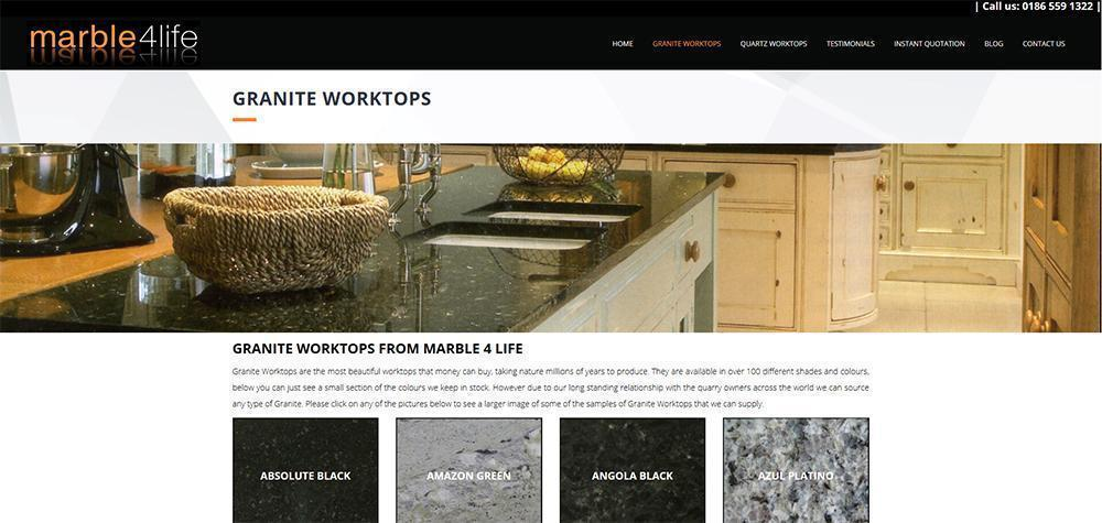 London Website Design Marble For Life